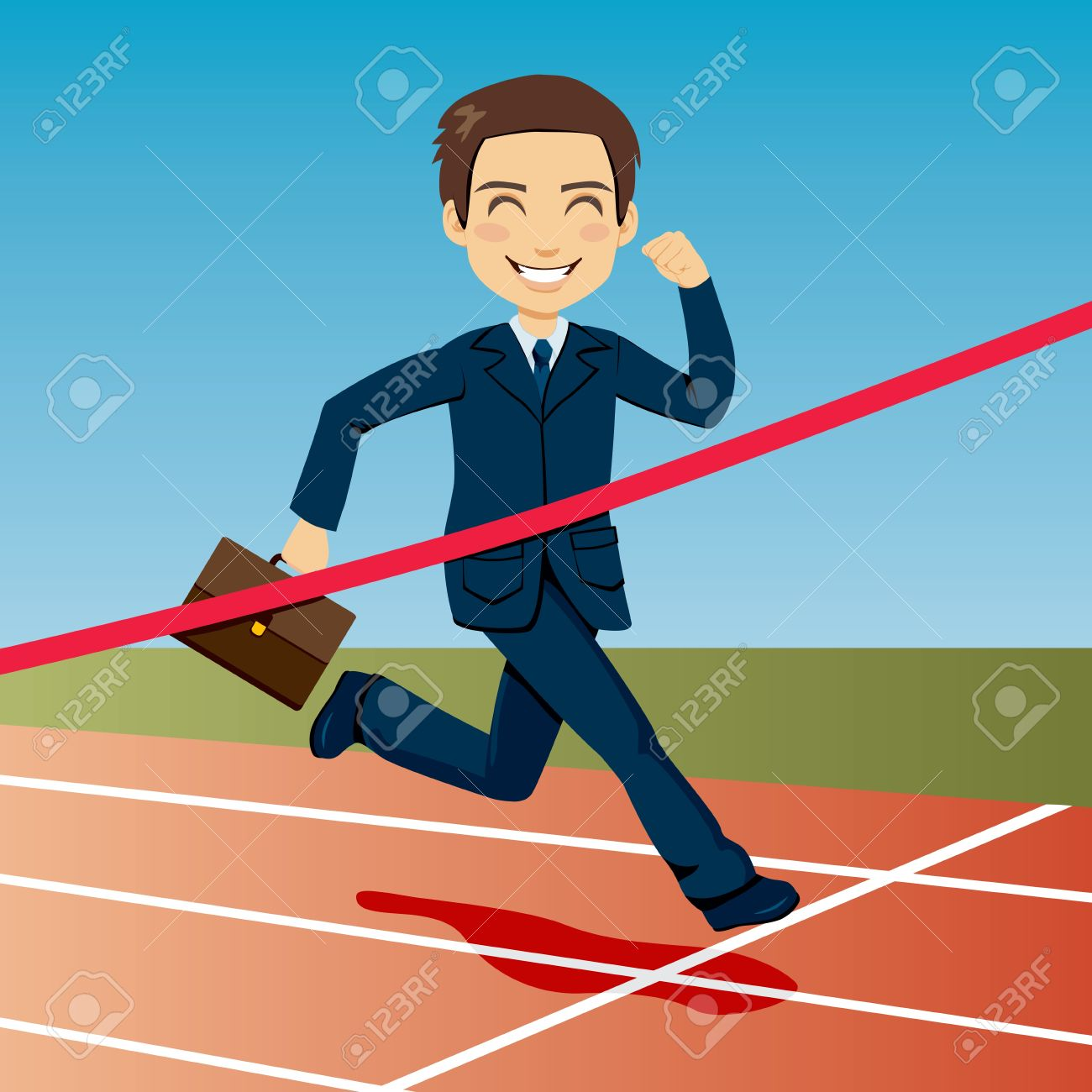 Successful businessman arriving first at finish line winning Stock Vector - 13214393