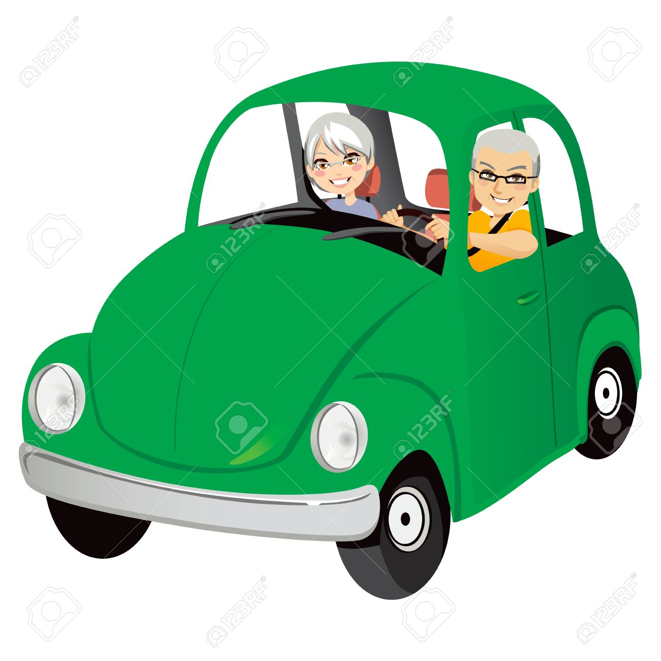 Senior couple happy driving cute old green car Stock Vector - 13451925