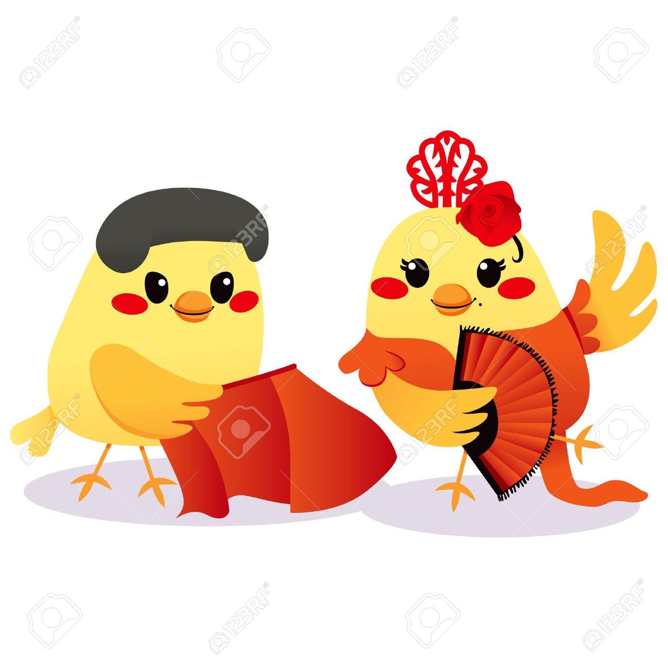 Cute Male Bird Torero And Female Bird Flamenco Dancer Couple ...