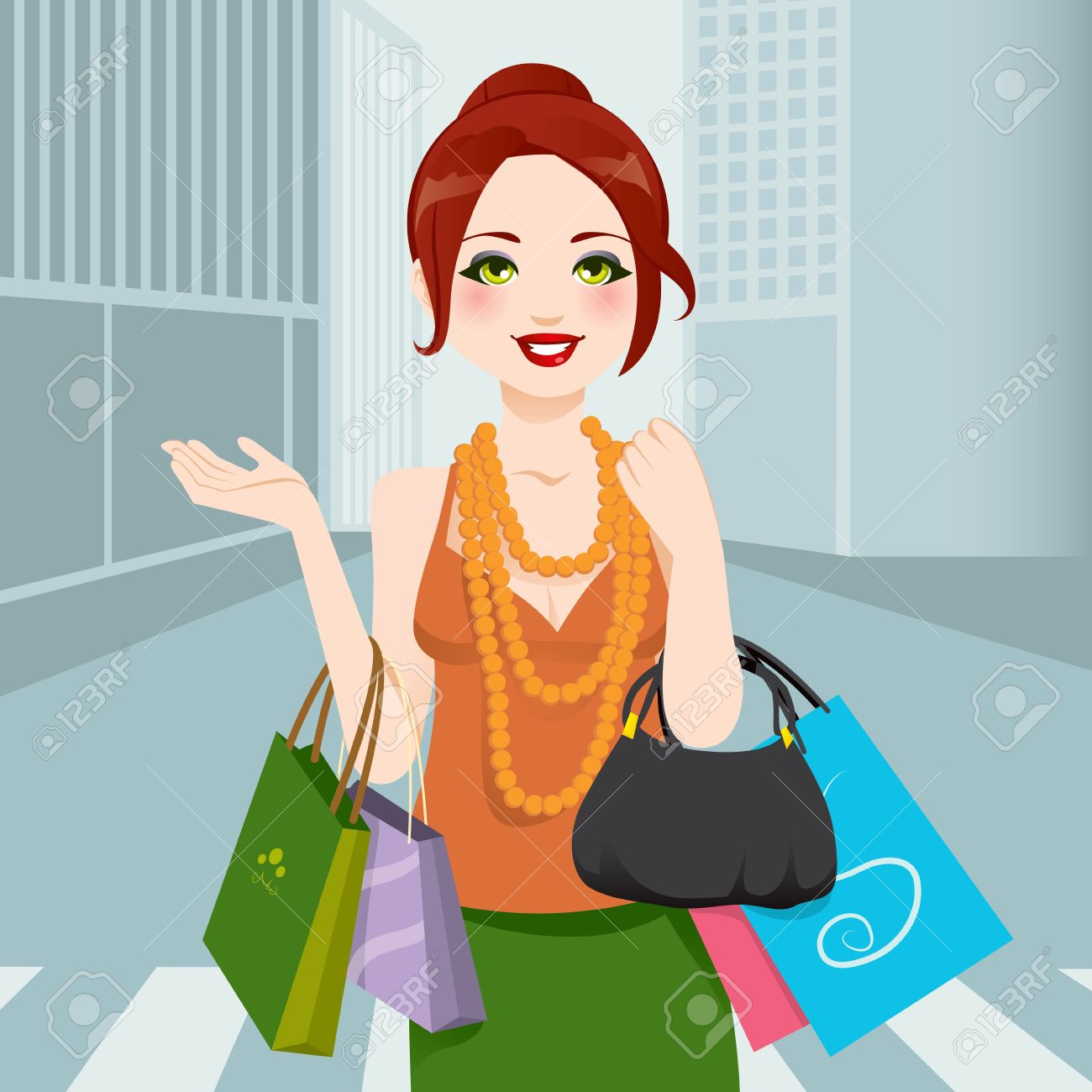 Beautiful chic fashion woman walking through city avenue with shopping bags and handbag Stock Vector - 13815453