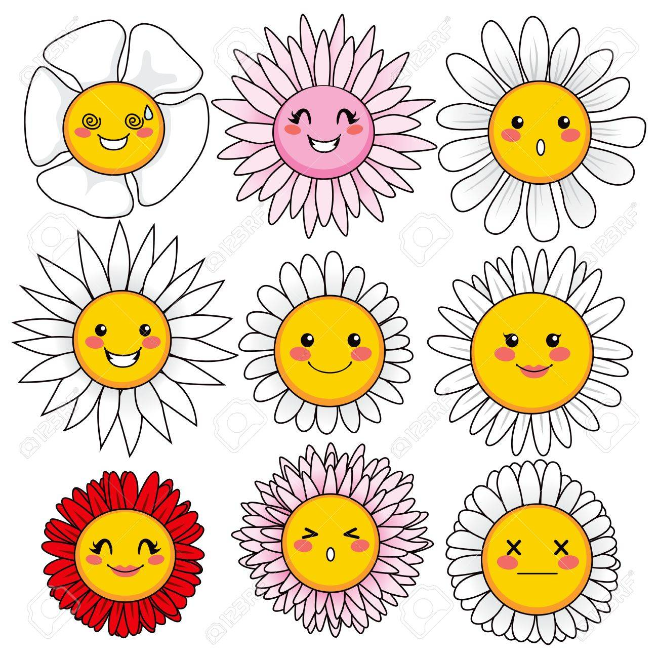 Collection Of Nine Cute And Funny Flower Faces With Different Facial Expressions Stock Vector