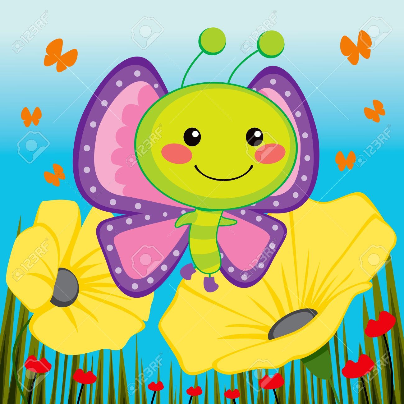 Cute butterfly flying over beautiful yellow flowers royalty free cute butterfly flying over beautiful yellow flowers stock vector 14126559 mightylinksfo