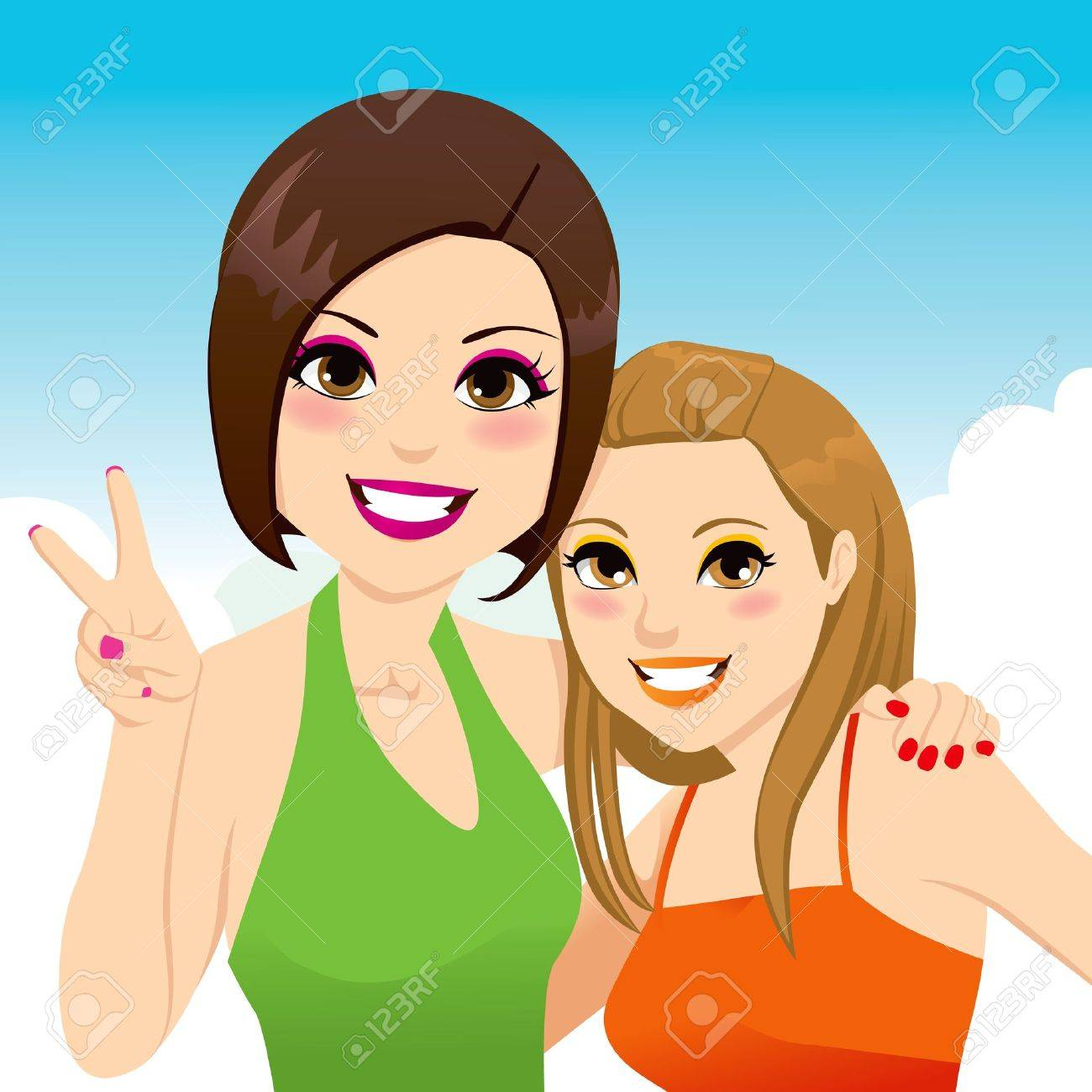Funny snapshot portrait illustration of two beautiful best friends girls posing together Stock Vector - 14126563
