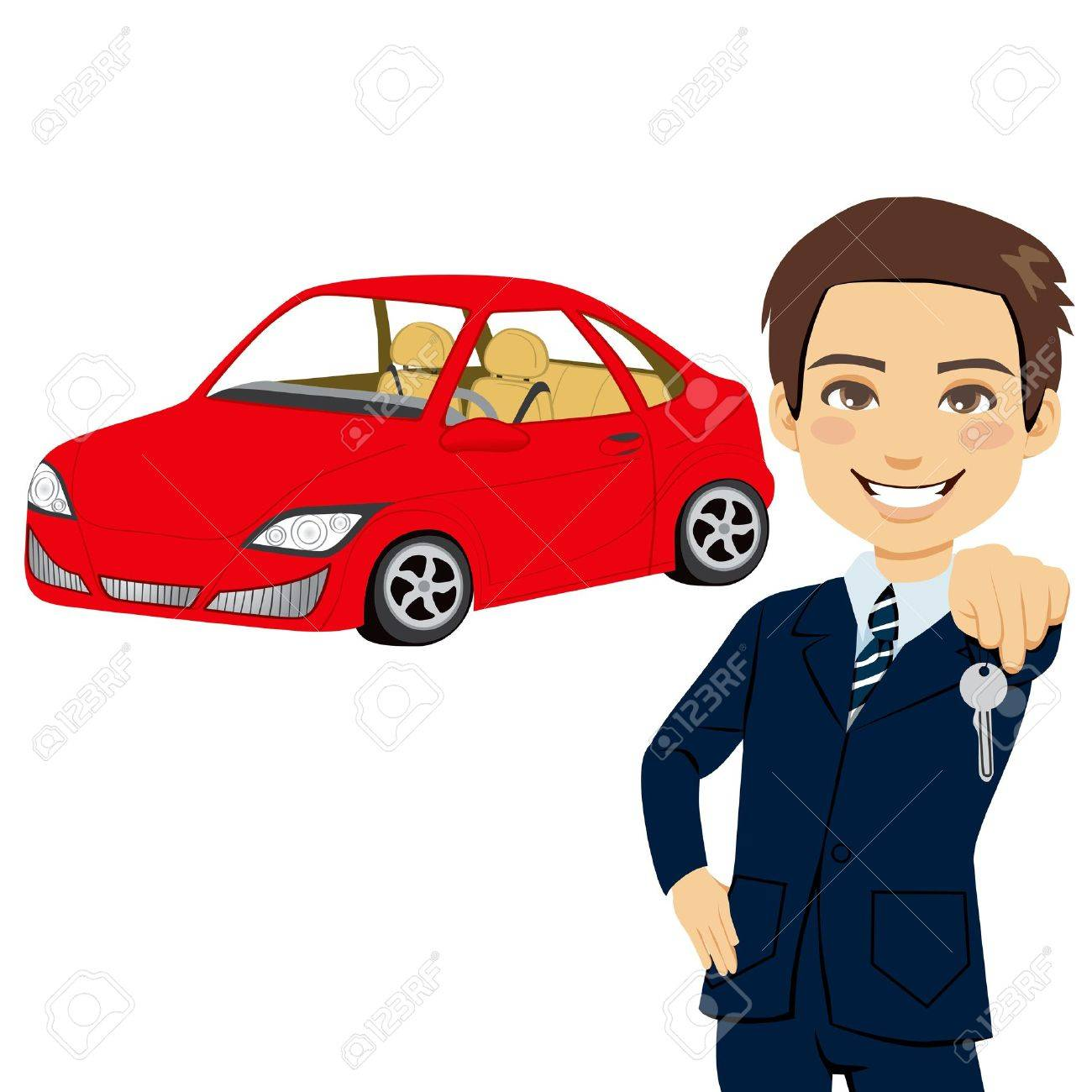 Young automobile salesman holding the key of a brand new red sports car Stock Vector - 14380760