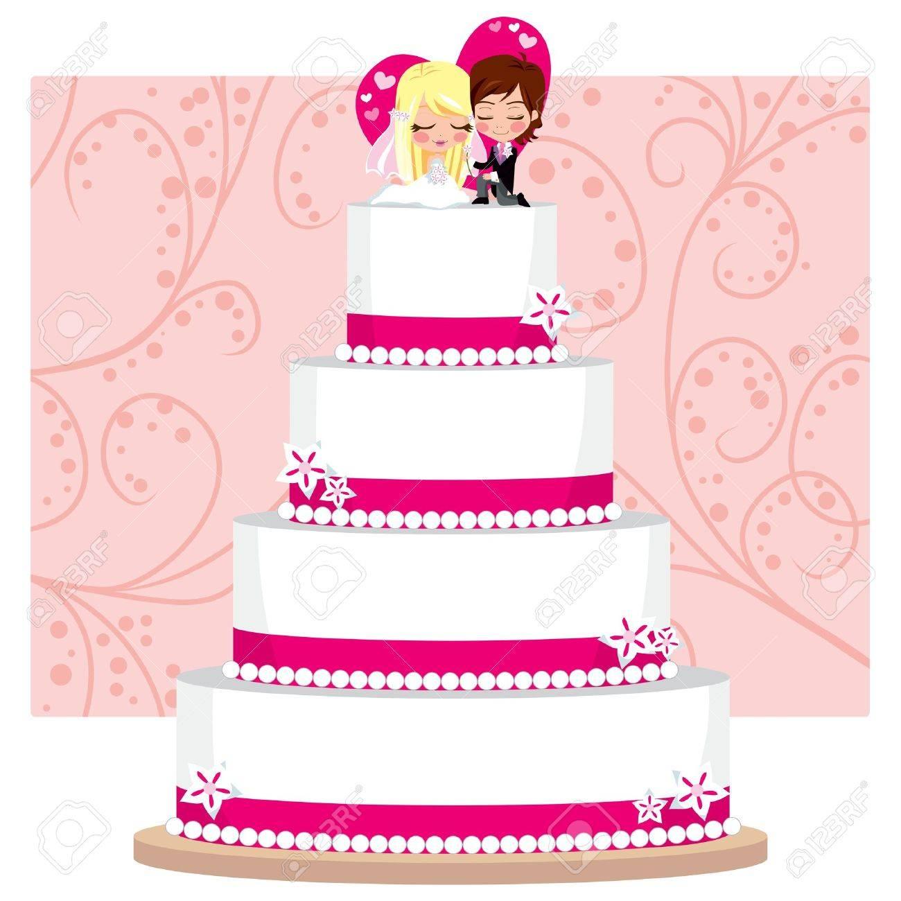 Erdbeer Hochzeitstorte Mit Blumen Und Brautigam Und Die Braut Figur