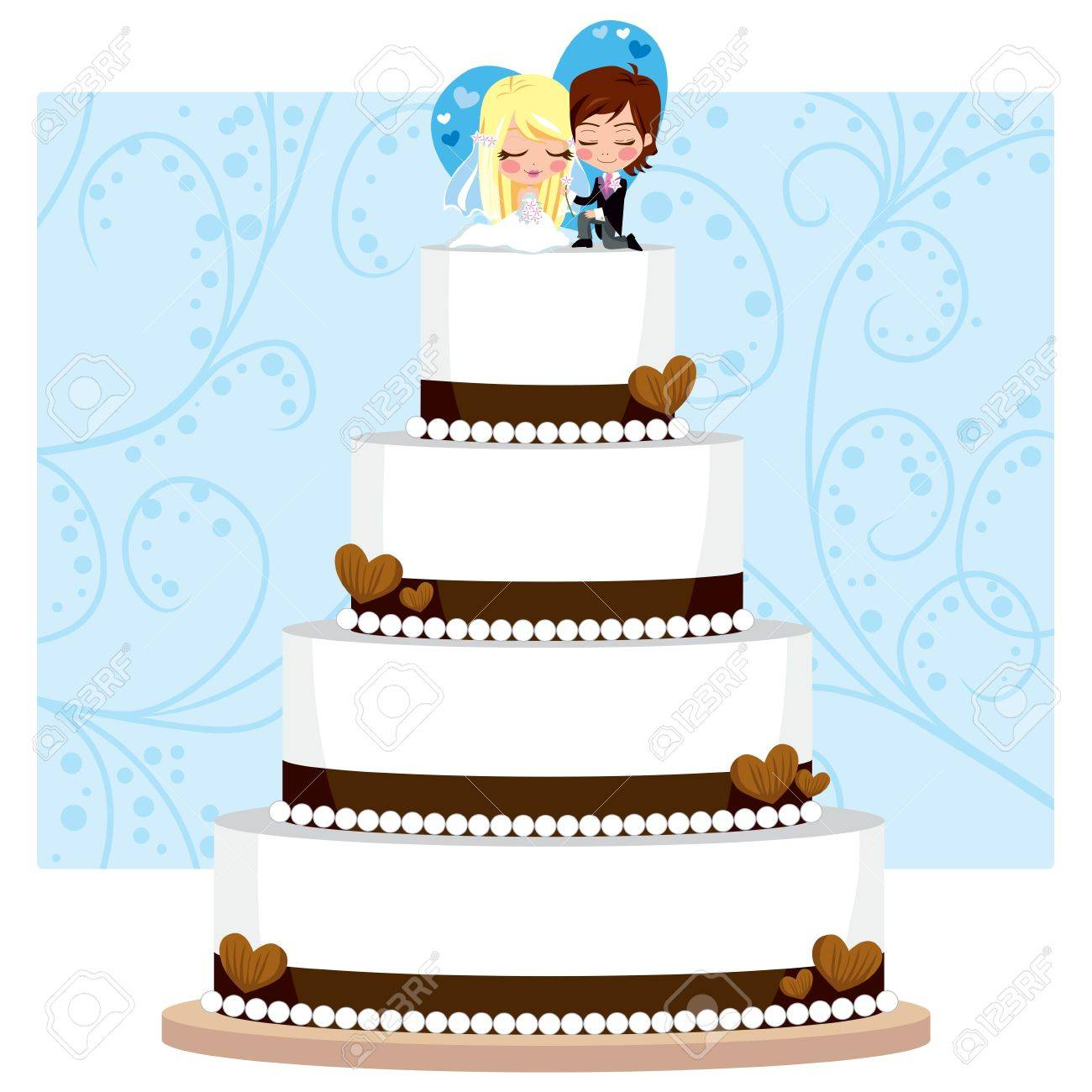 Chocolate Wedding Cake With Hearts And Groom And Bride Figure ...
