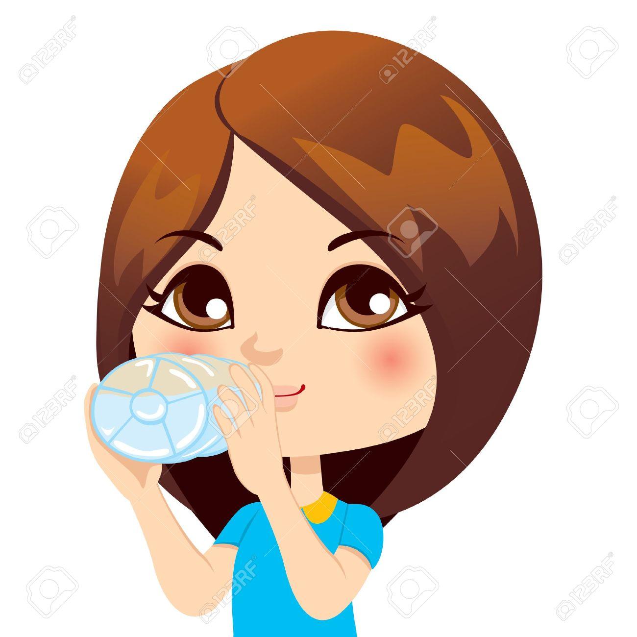 Cute little brunette girl drinking water from bottle Stock Vector - 14576746