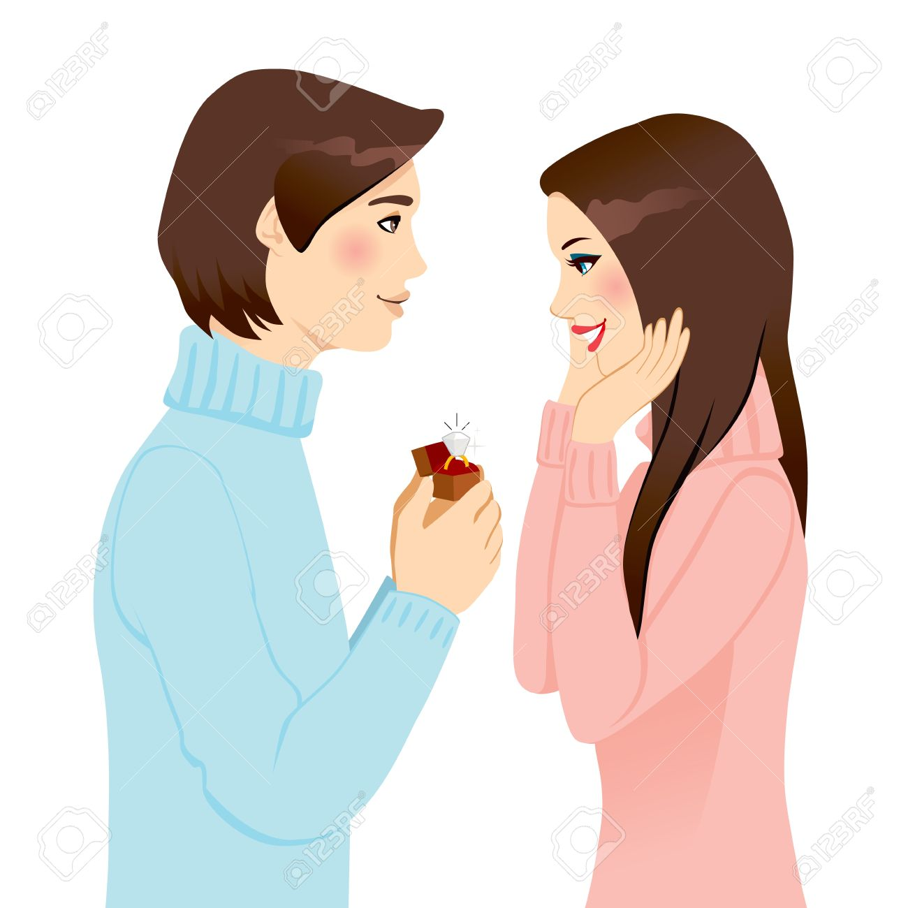 Handsome man proposing marriage with diamond engagement ring to surprised woman Stock Vector - 14712029