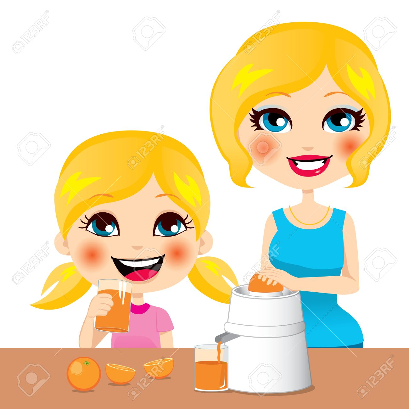 Little girl drinking healthy orange juice squeezed by her beautiful mother Stock Vector - 14712039