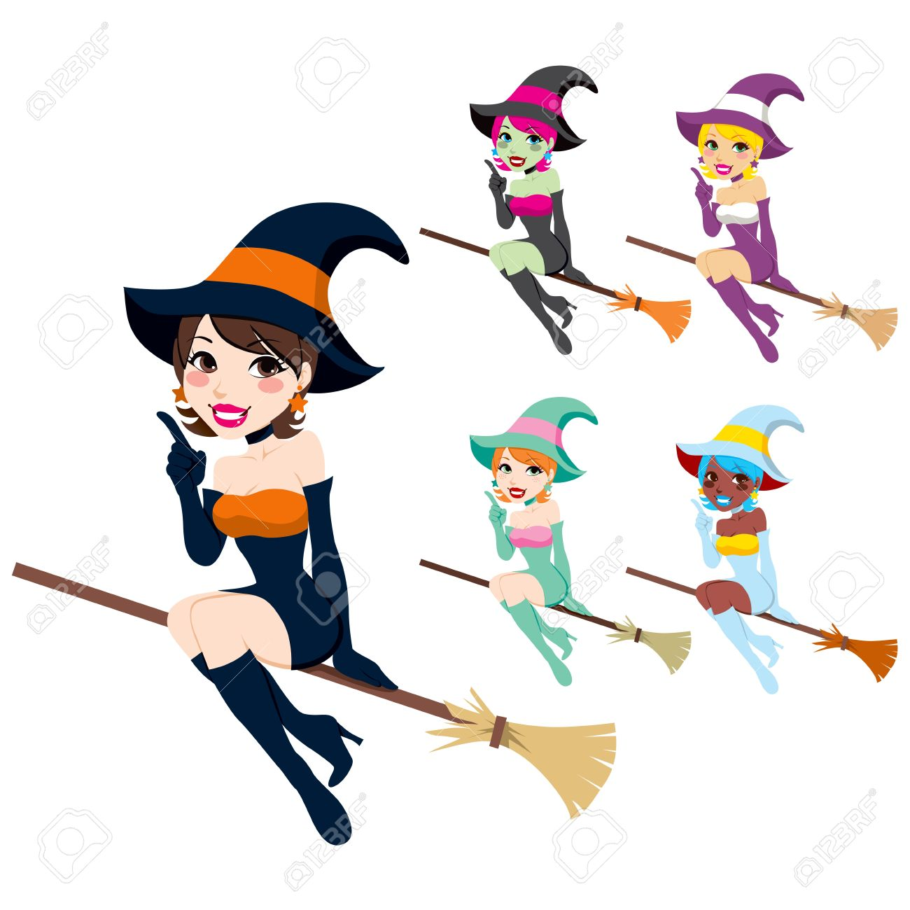collection of beautiful women with halloween witch costumes in