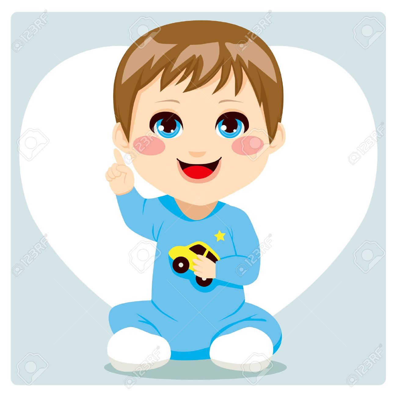Cute smart little baby boy pointing index finger up having an idea and speaking Stock Vector - 15577951