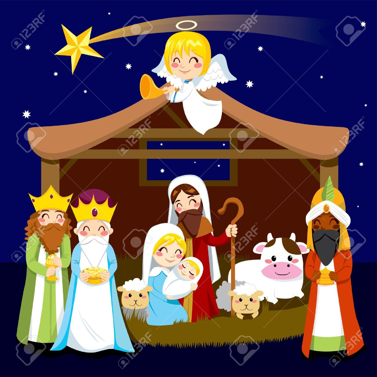 Christmas Nativity.Three Wise Men Bring Presents To Jesus In Christmas Nativity