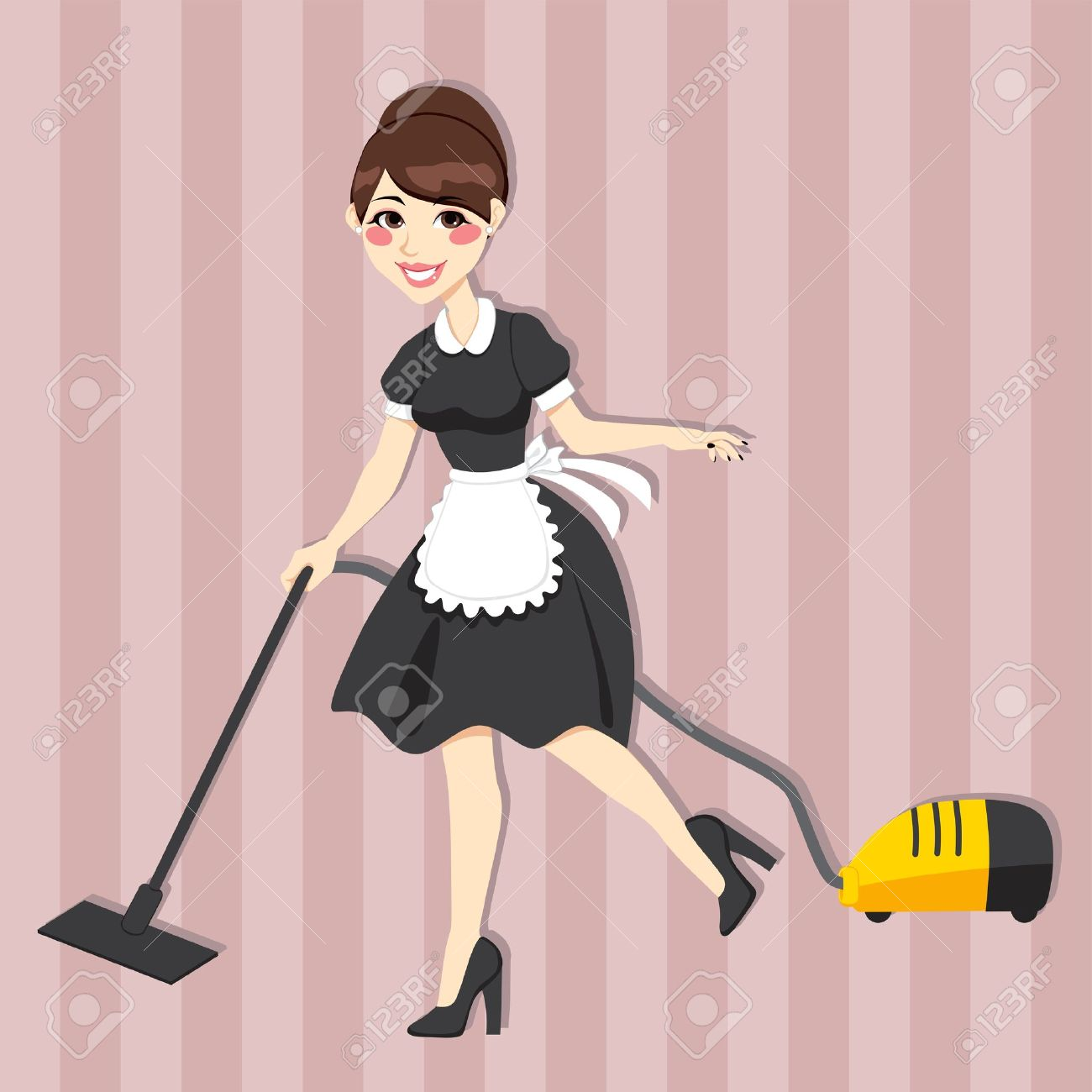 Lovely housewife with vintage maid dress cleaning using vacuum cleaner Stock Vector - 15577954