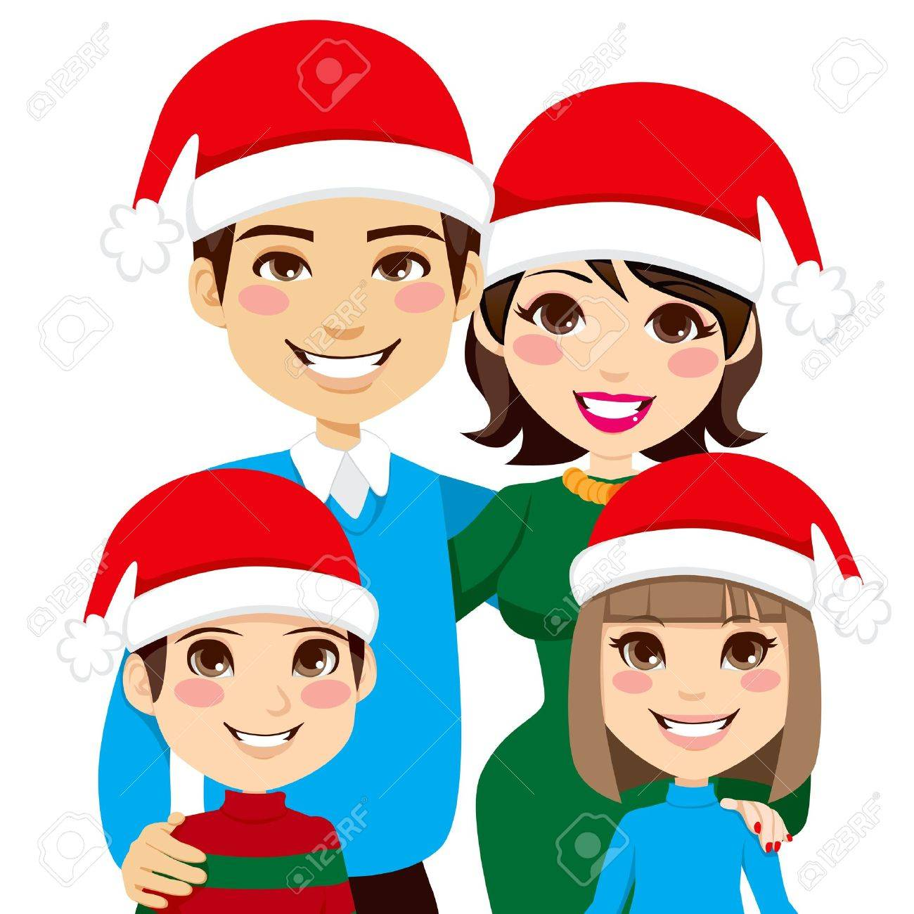 Portrait illustration of lovely Christmas family with Santa Claus hats Stock Vector - 15577955