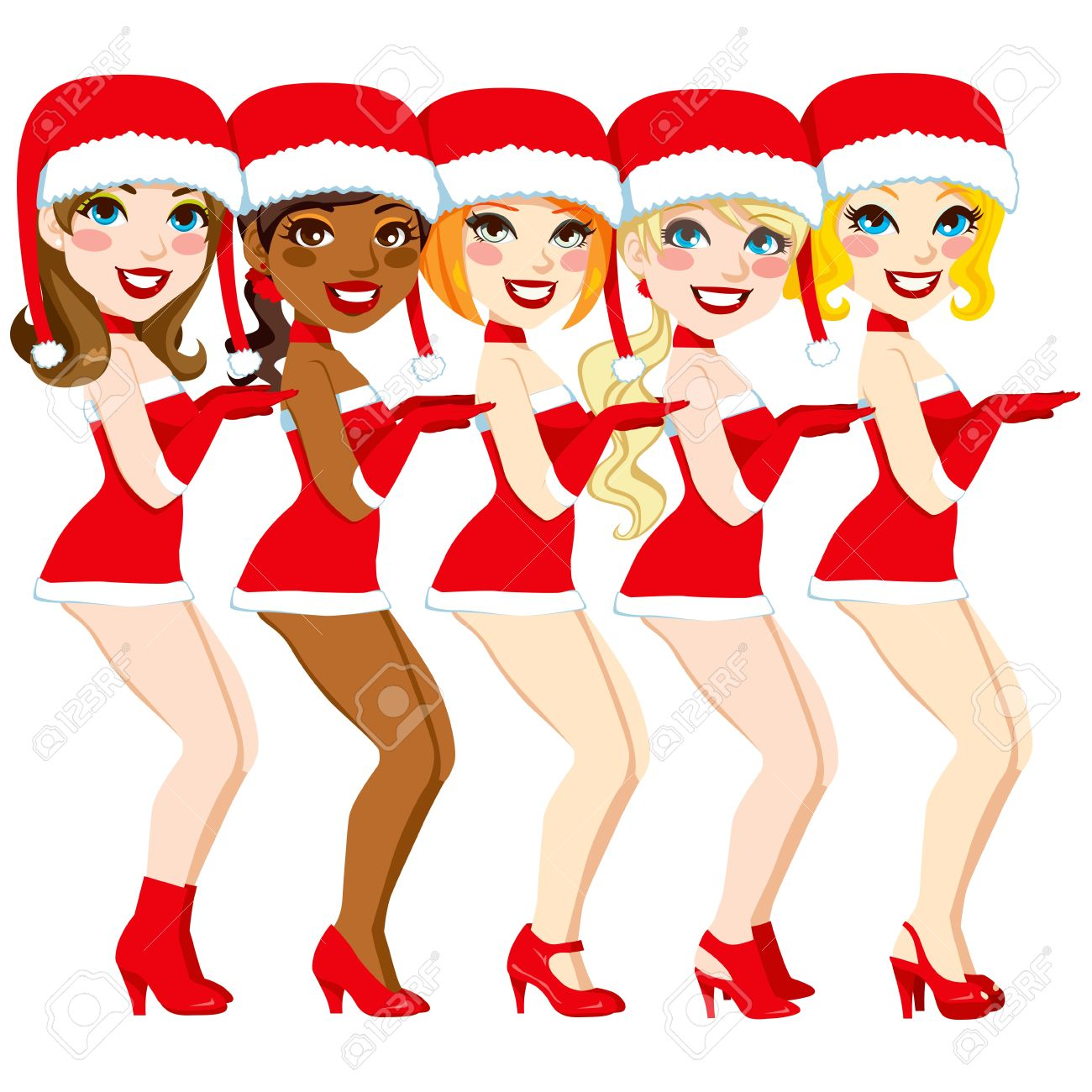 Five attractive women dancing performance with a sexy Santa Claus costume Stock Vector - 16484772