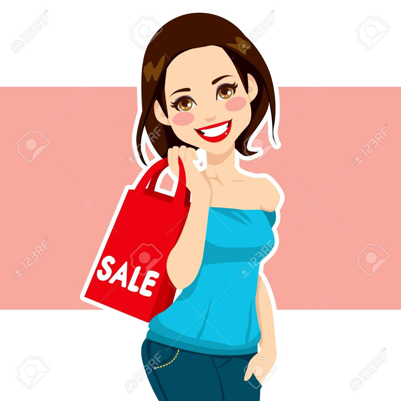 Attractive brunette woman carrying red shopping sales bag Stock Vector - 16484762