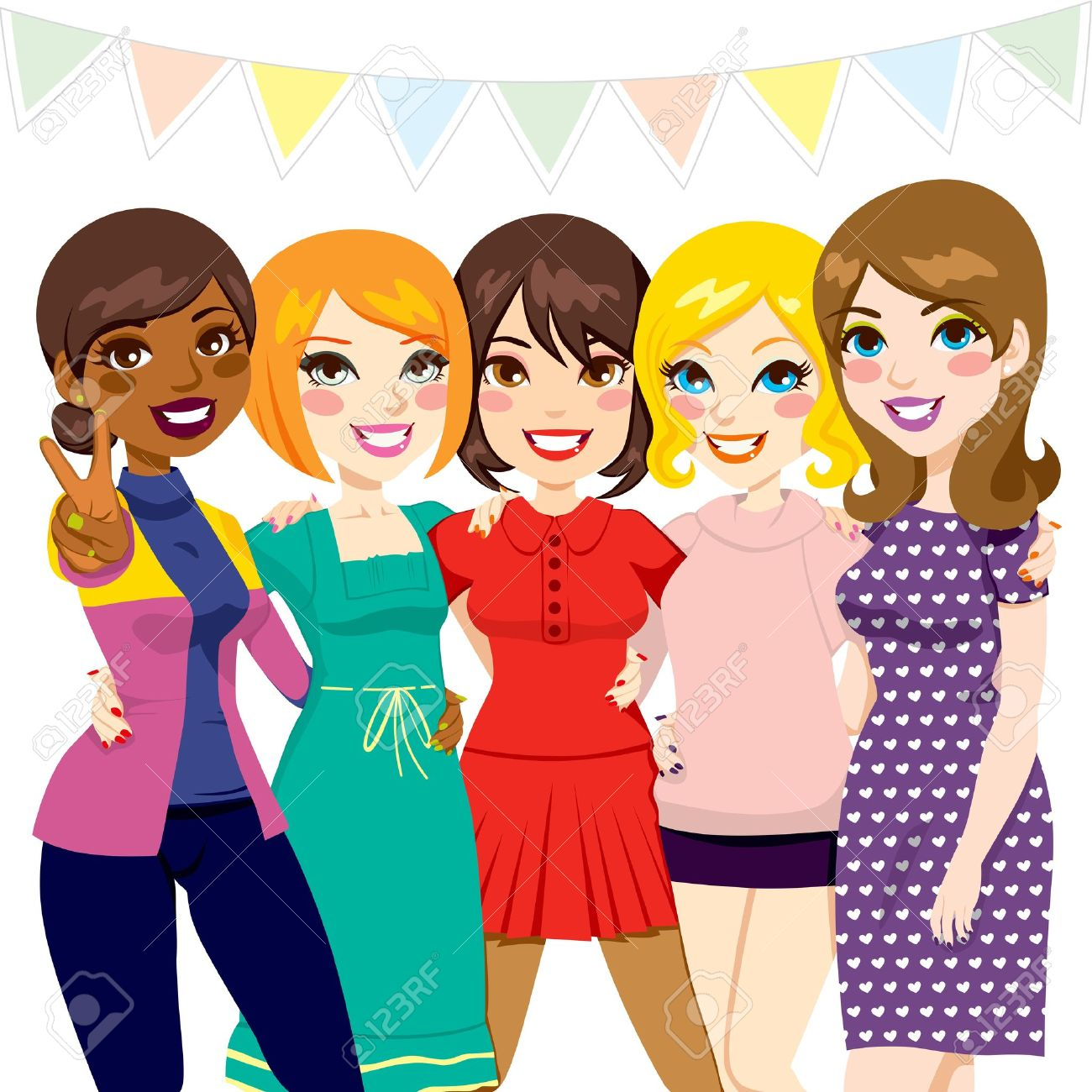 five women friends having fun together at a celebration party