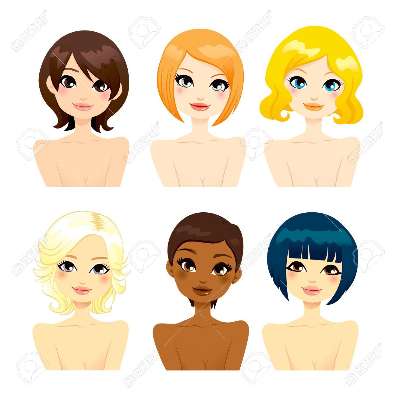 Collection De Six Beaux Multi-ethniques Des Femmes Face Aux ...