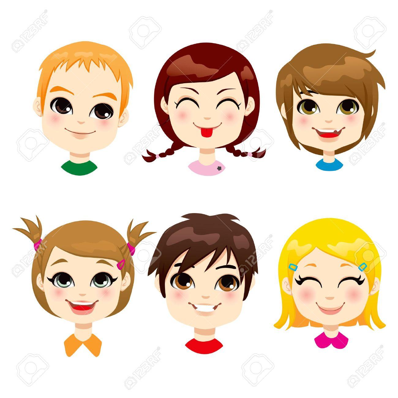 六つの異なる子表情集のイラスト素材ベクタ Image 17660606