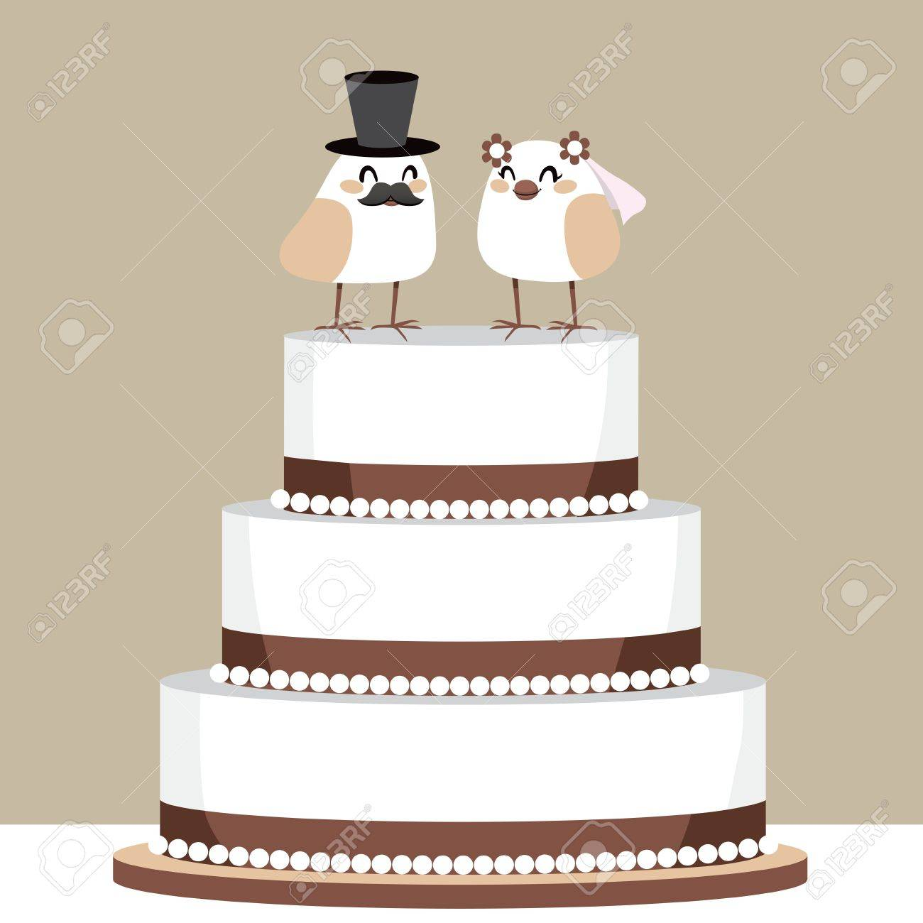 Beautiful Classic Wedding Cake With Couple Of Cute Birds Love ...