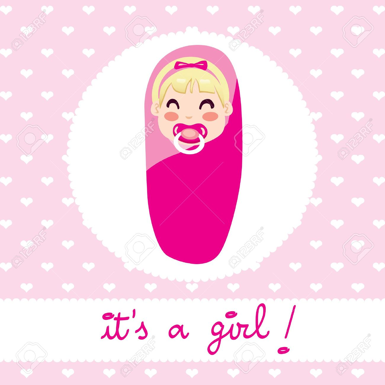 Cute Illustration Design Of Newborn Baby Girl Wrapped In Pink Royalty Free Cliparts Vectors And Stock Illustration Image 17660585
