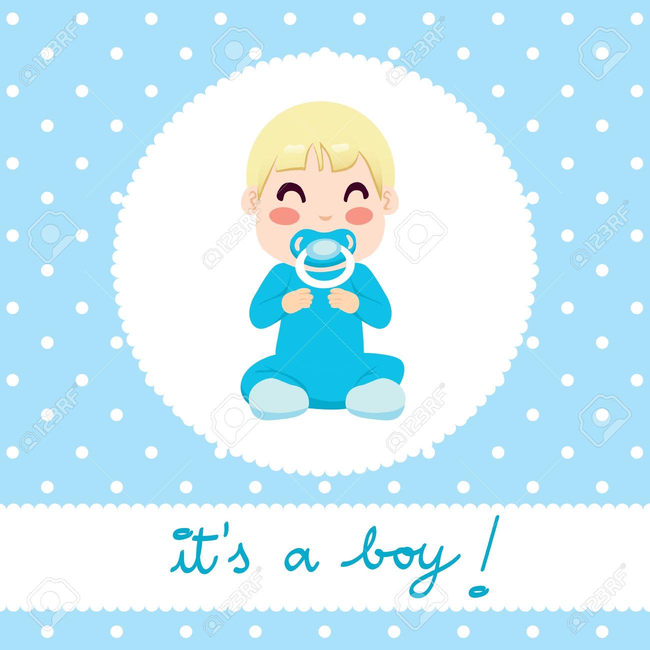 Cute Illustration Design Of Newborn Baby Boy In Blue Onesie – Cute Baby Boy Announcements