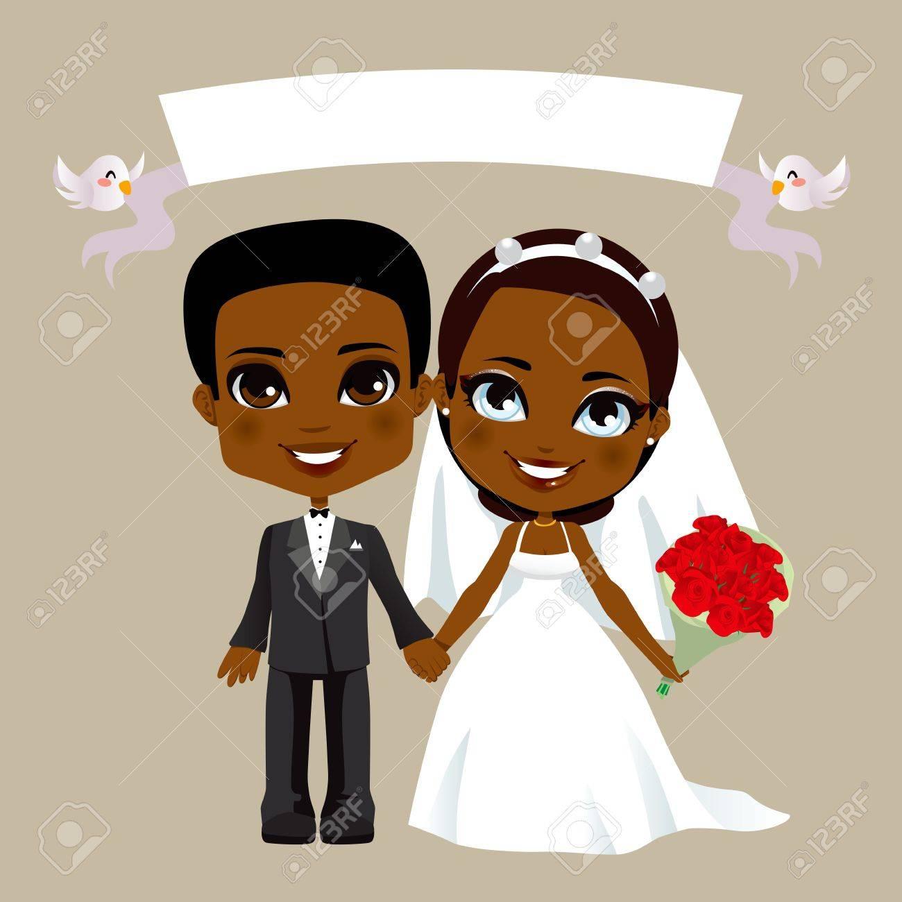 白い旗と黒の素敵なカップルの結婚式のイラスト ロイヤリティフリー