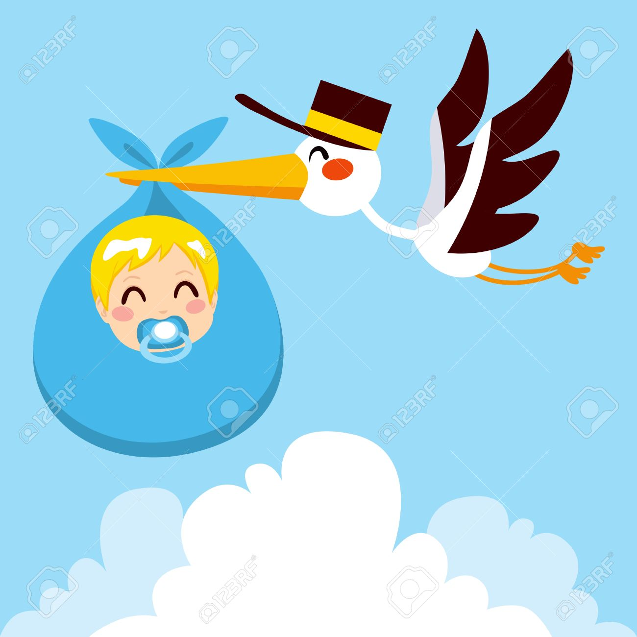 Stork flying with cute baby boy wrapped on blue blanket package for delivery Stock Vector - 18066651