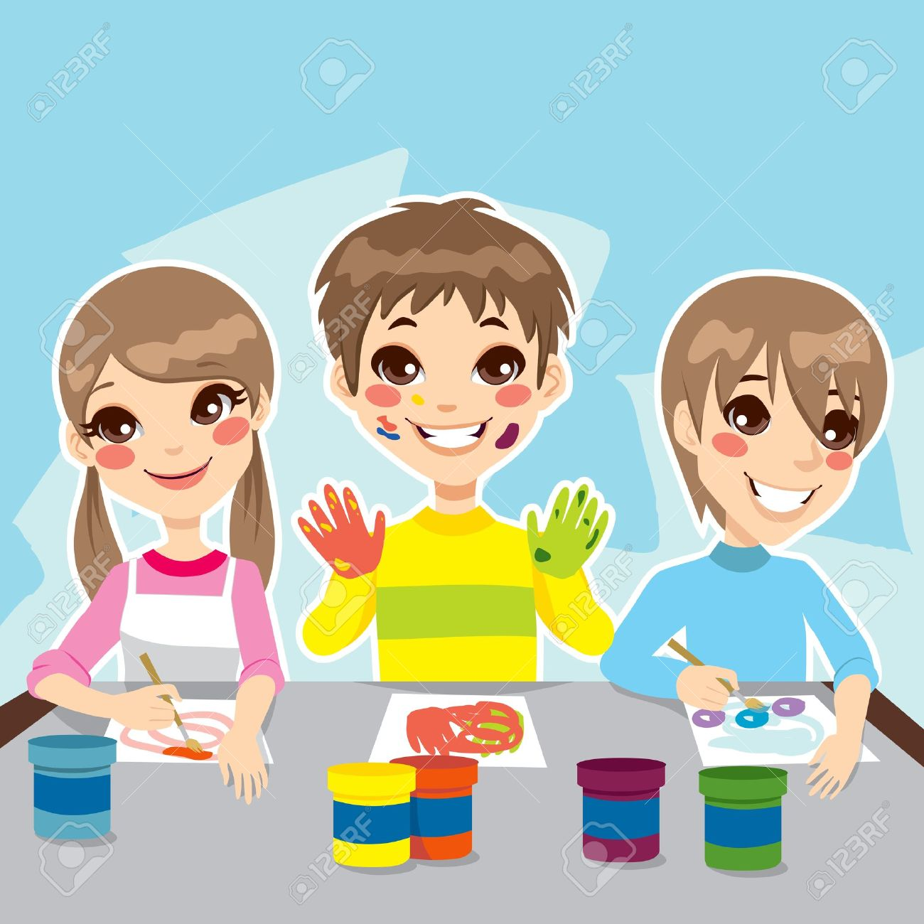 Coloring games youtube - Three Young Kids Having Fun Painting Colorful Drawings Stock Vector 18724964