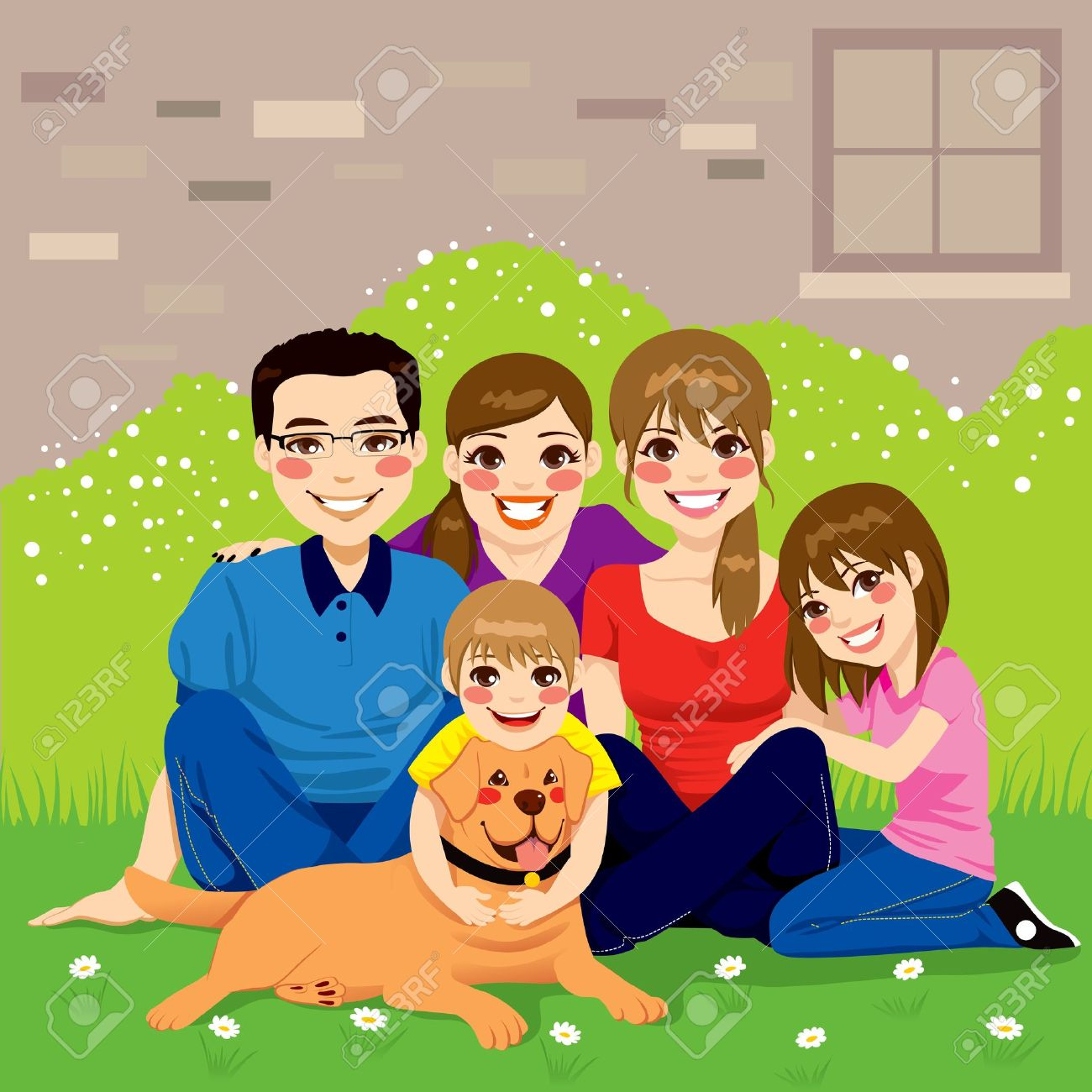 Sweet happy family posing together sitting in the backyard with their golden retriever dog Stock Vector - 20360298