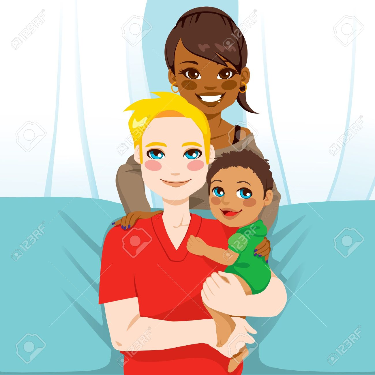Happy interracial family of white husband and black wife with their mixed race child Stock Vector - 20350963