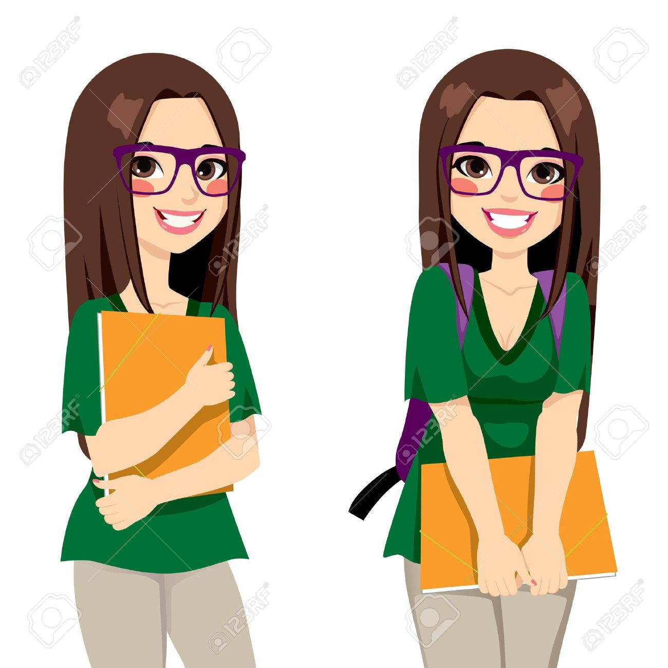 Cute teenage girl student with nerdy style glasses holding an orange folder ready to go back
