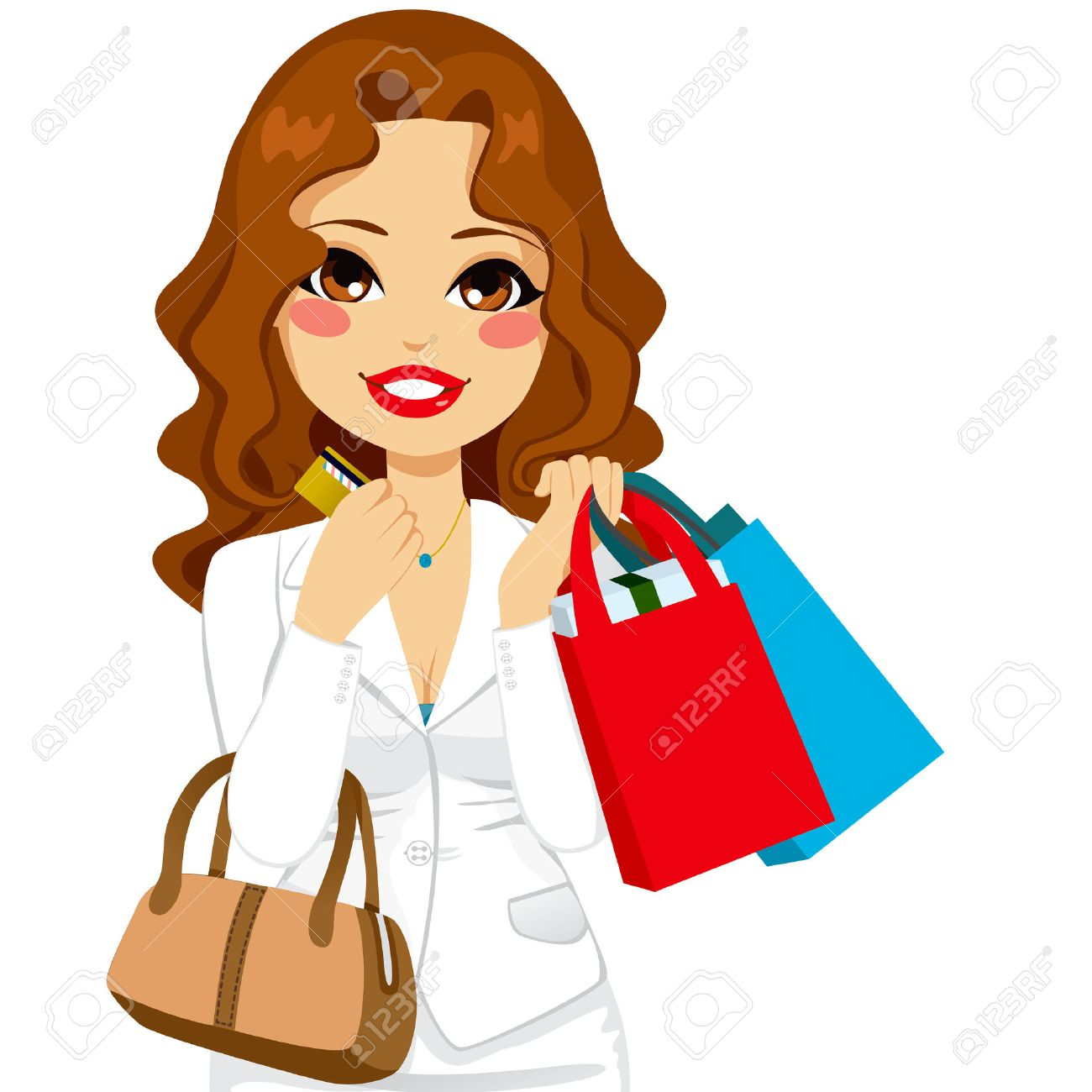 Beautiful Business Woman Holding Shopping Bags And Her Credit ...