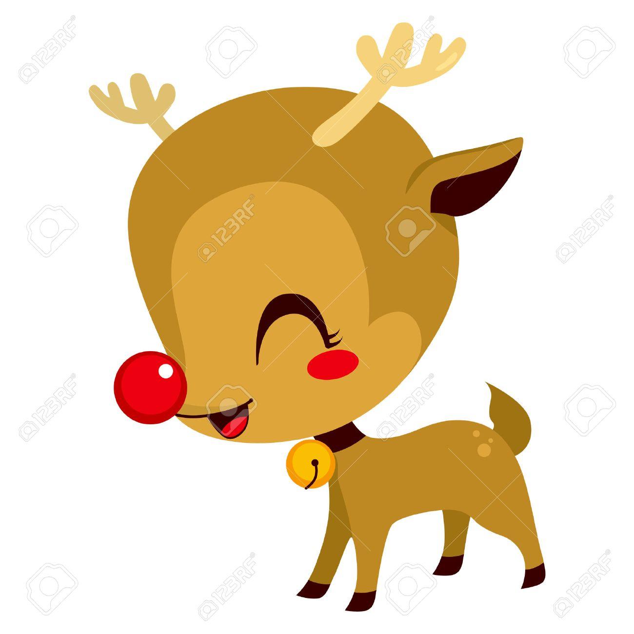 かわいい小さなルドルフ赤鼻のトナカイのイラスト漫画キャラクターの