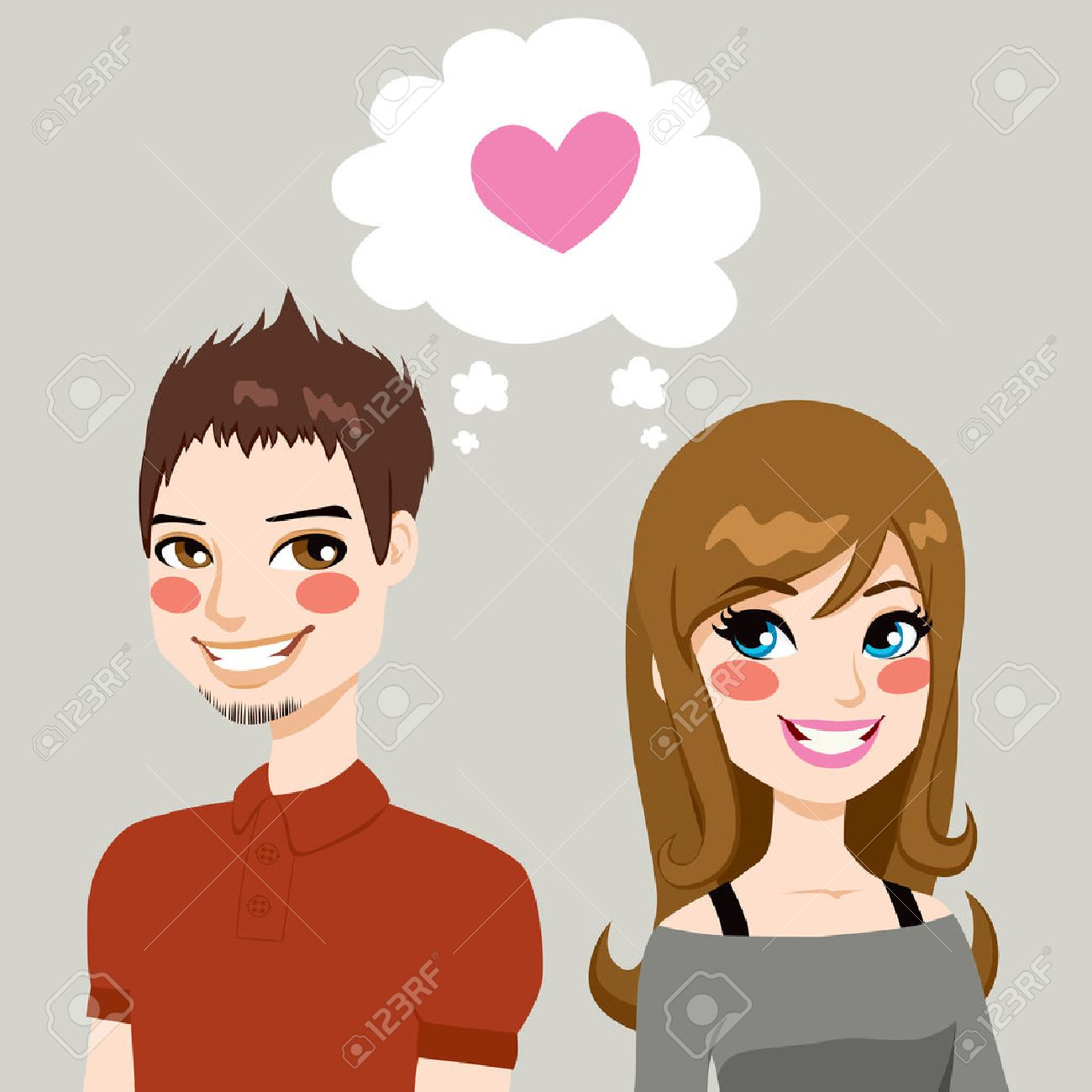 Concept illustration of a man and a woman side by side make eye contact and falling in love together - 22964394