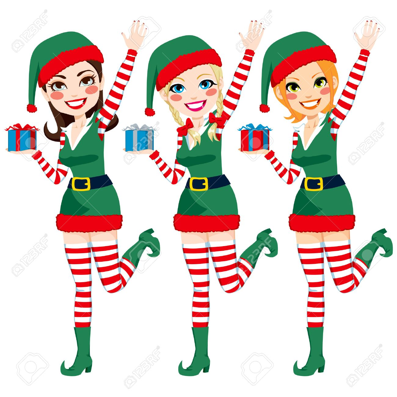 Three beautiful Santa Claus Elf helpers holding Christmas presents and waving hand Stock Vector - 22964399