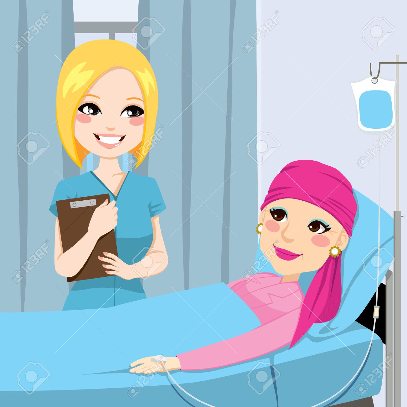Nurse visit a senior old woman patient lying down on hospital bed receiving intravenous chemotherapy treatment for cancer Stock Vector - 22964398