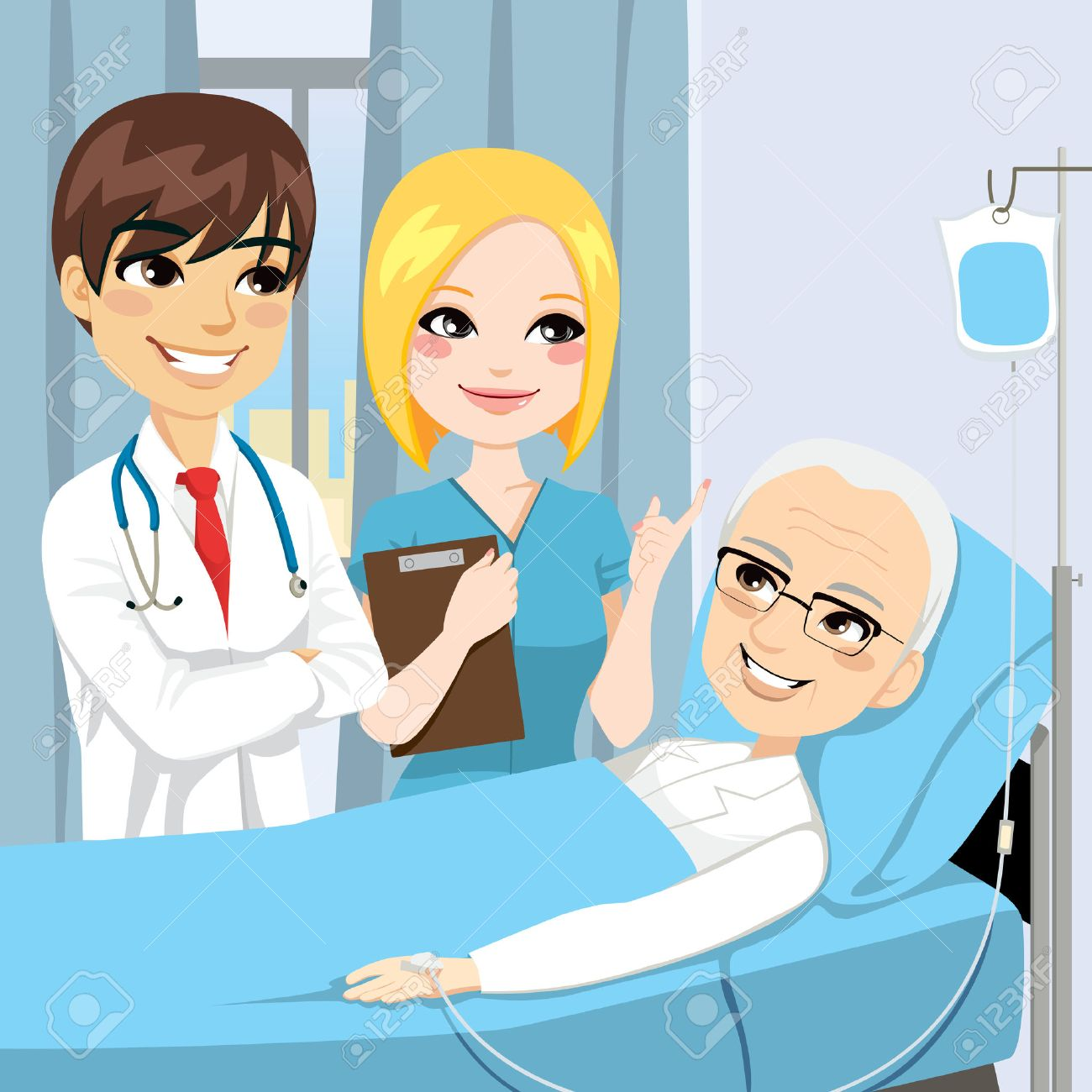 Doctor and nurse visit a senior old man patient lying down on hospital bed receiving intravenous chemotherapy cancer treatment Stock Vector - 22964400