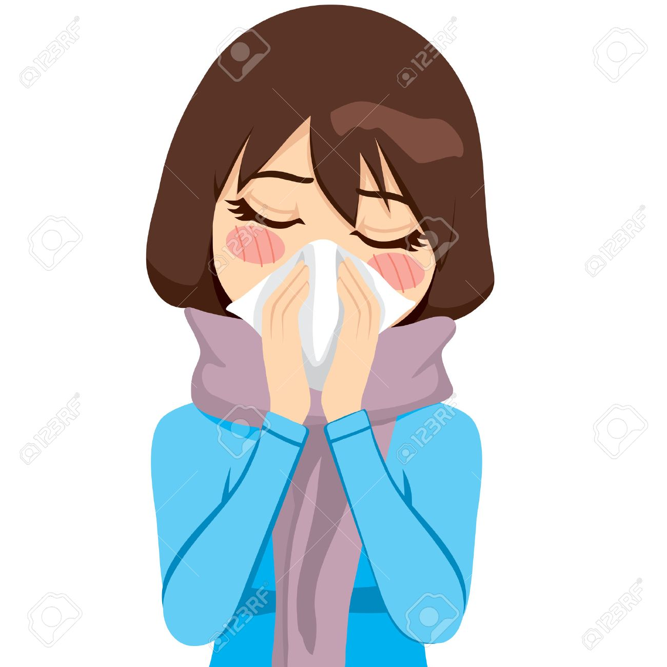 Beautiful woman wearing a warm scarf suffering influenza and runny nose blowing her nose with a handkerchief Stock Vector - 22966735