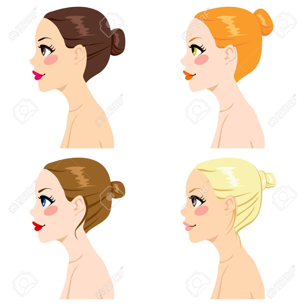 Enjoyable Four Women Profile With Different Hair Bun Styles And Hair Color Hairstyles For Men Maxibearus