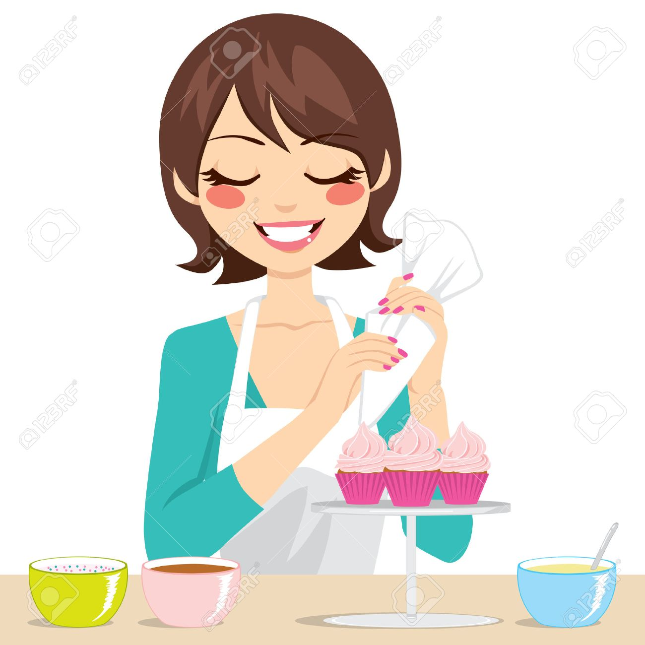 Delightful Beautiful Brunette Woman Decorating Sweet Cupcakes With Strawberry Cream  Stock Vector   24170122