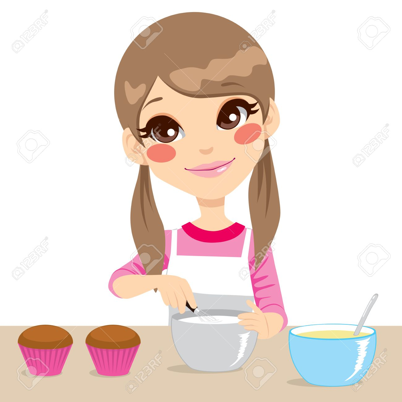 White apron food - White Apron Cute Little Girl With Apron Making Whipped Cream For Cupcakes Isolated On White