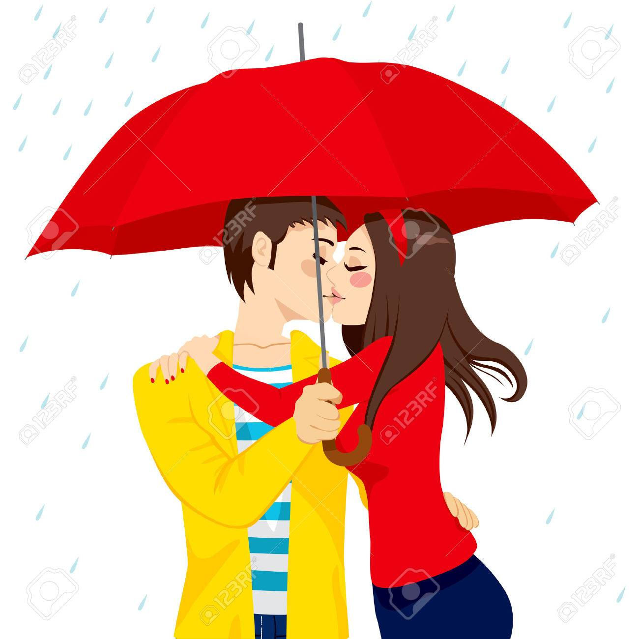 Sweet couple in love hugging and kissing under big red umbrella sweet couple in love hugging and kissing under big red umbrella on a rainy day stock altavistaventures Image collections