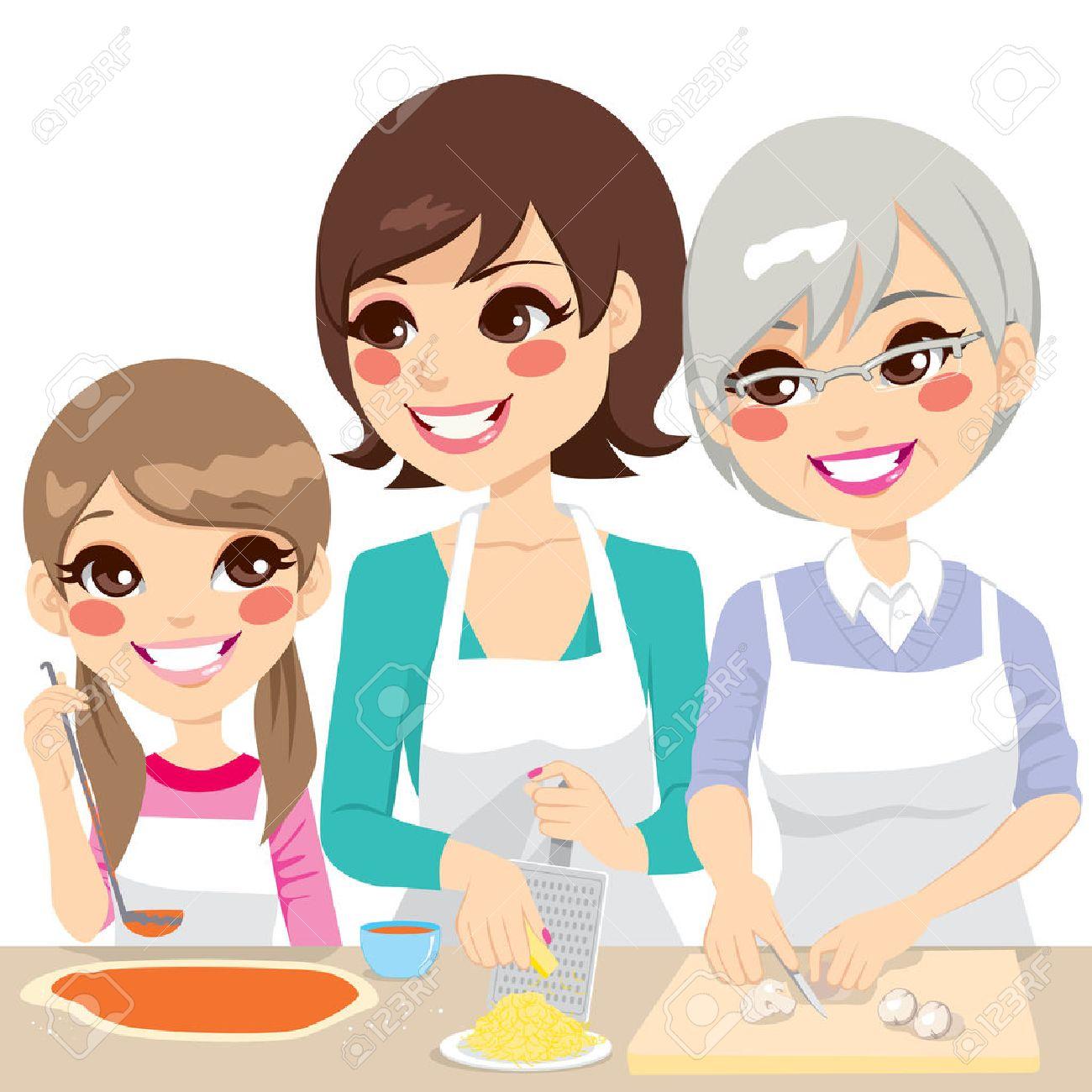 archivio fotografico figlia madre e nonna famiglia insieme cucinare una deliziosa pizza fatta in casa con ingredienti freschi