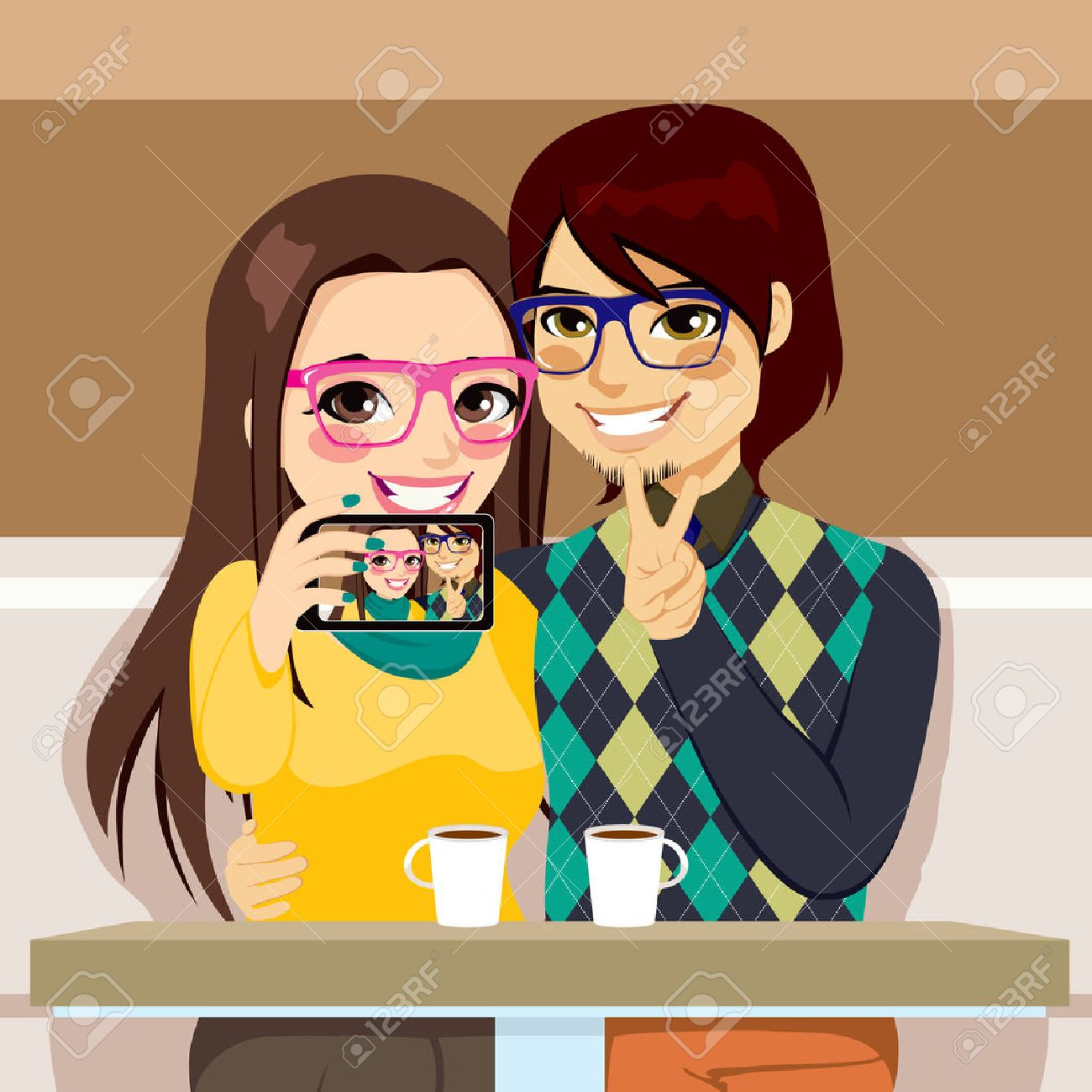 Young couple taking selfie photo together with mobile phone camera at a coffee shop Stock Vector - 24901286