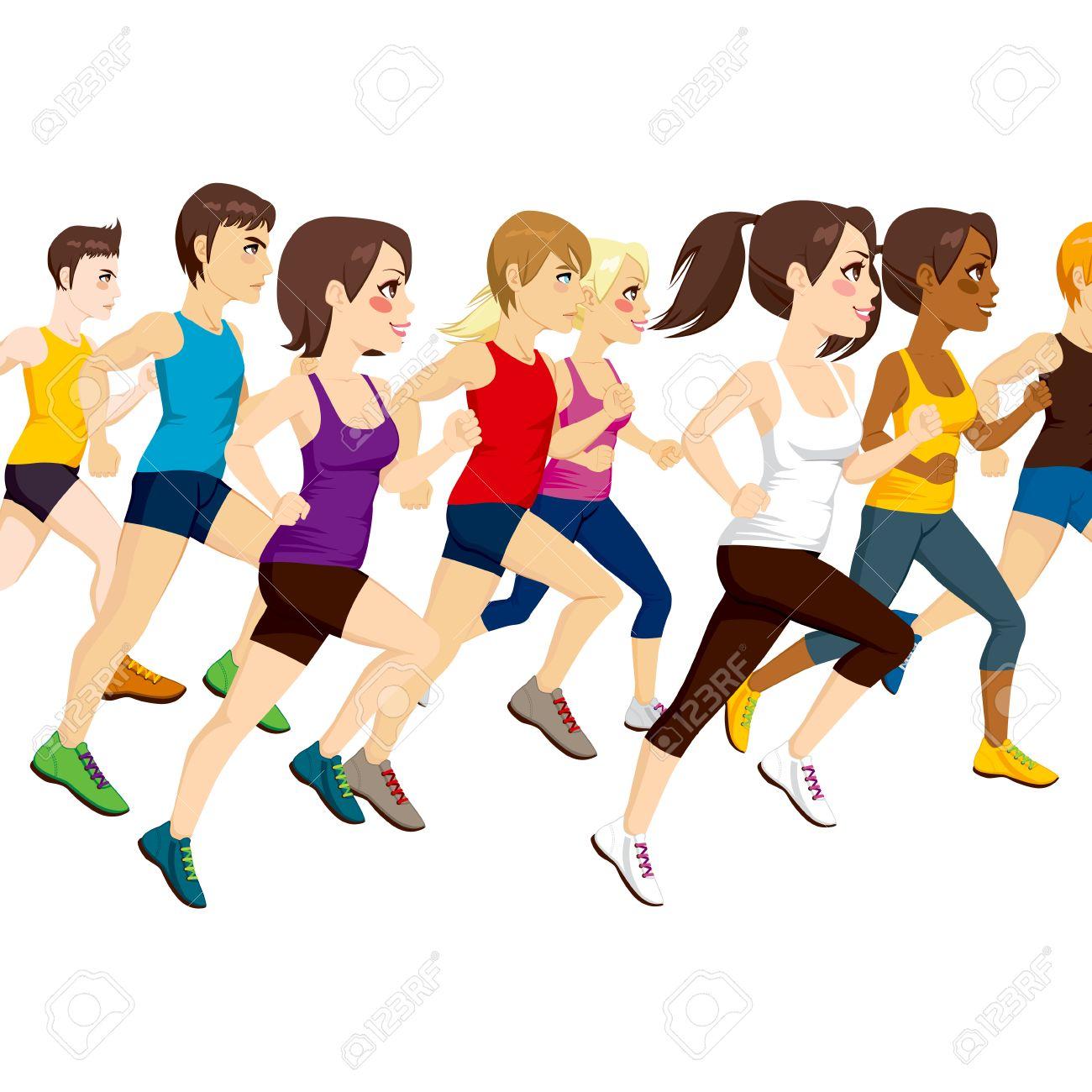 マラソン競争を実行している運動...
