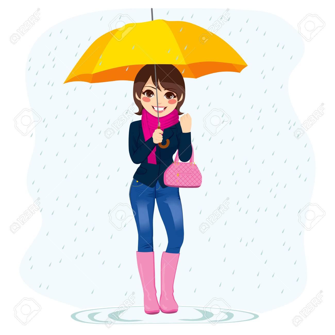 Ilustración De La Joven Y Bella Mujer De Moda De Pie Bajo La Lluvia Que Sostiene El Paraguas Amarillo Ilustraciones Vectoriales Clip Art Vectorizado Libre De Derechos Image 26168592
