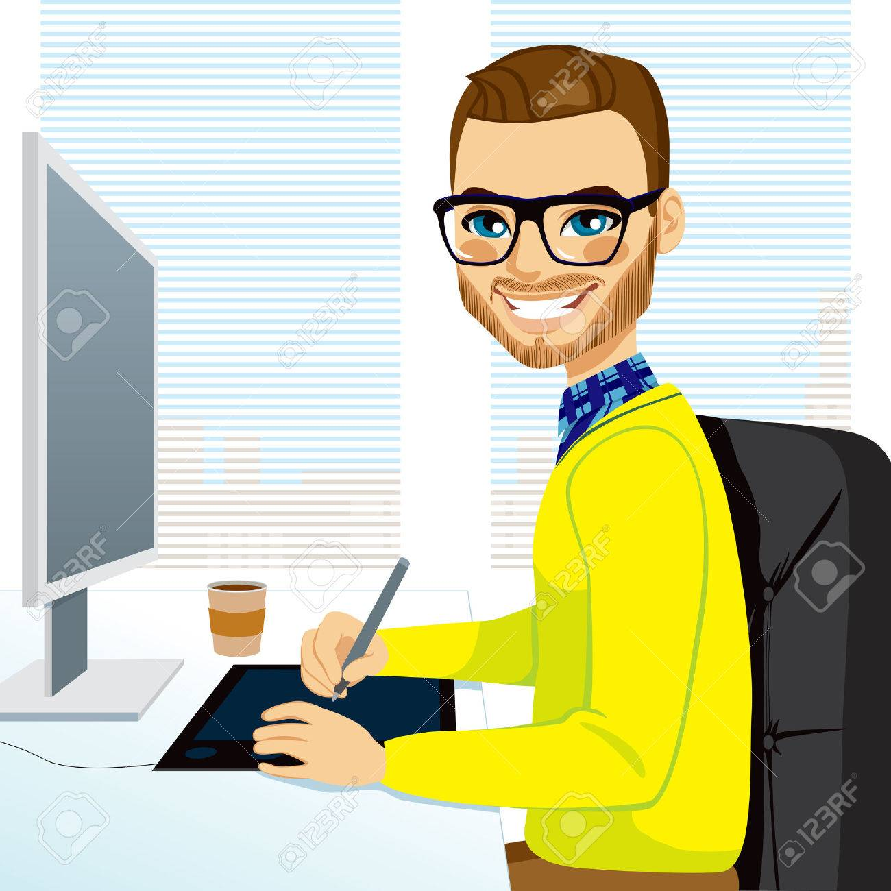 Happy hipster fashion style graphic designer man working with tablet in front of computer screen - 26550336