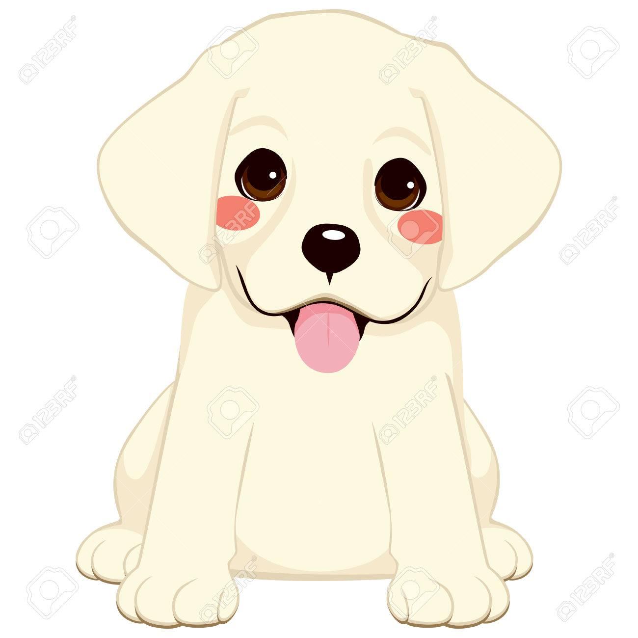 Cute White Labrador Golden Retriever Puppy Illustration Royalty Free