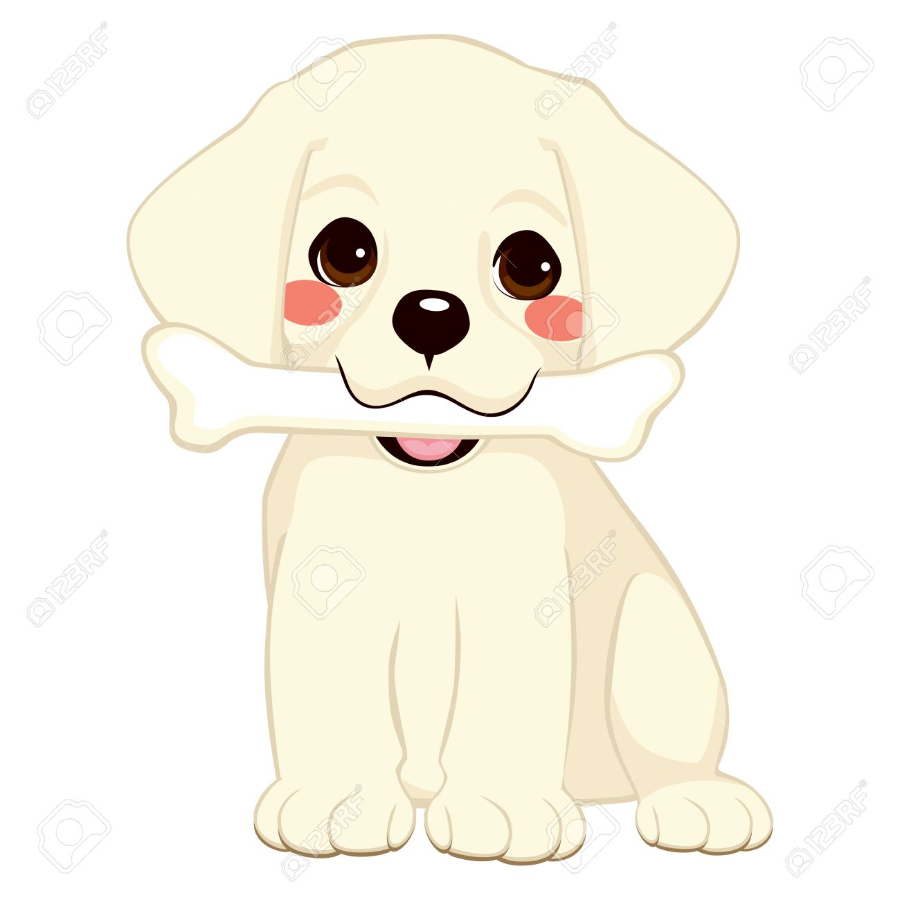 Cute Dog Puppy Labrador Holding Big Bone With Mouth Royalty Free Cliparts Vectors And Stock Illustration Image 27291861